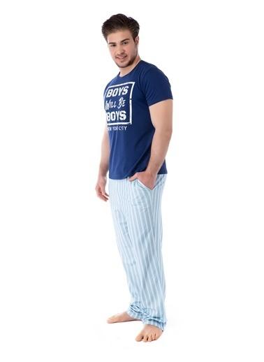Pamuk & Pamuk Mavi Çizgili Erkek Pijama Takım Renkli